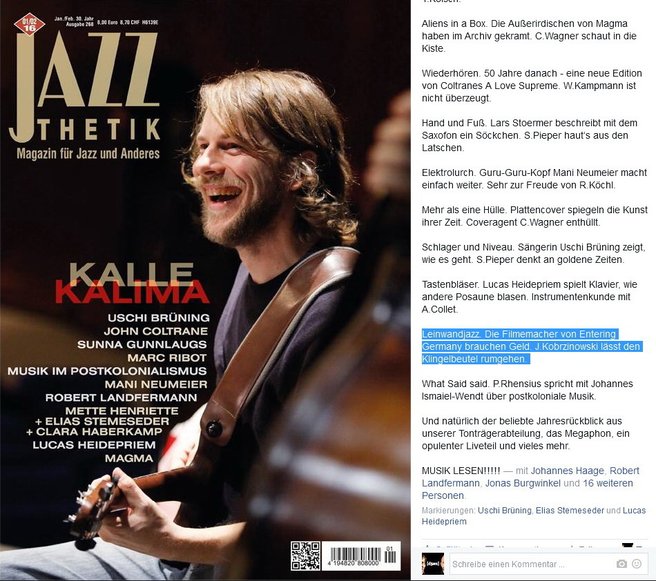 Jazzthetik bei Facebook - 18.12.2015